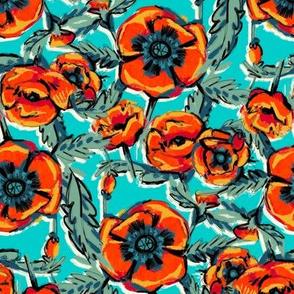 Orange Poppies on Aqua
