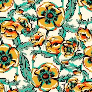 Yellow Poppies on Cream