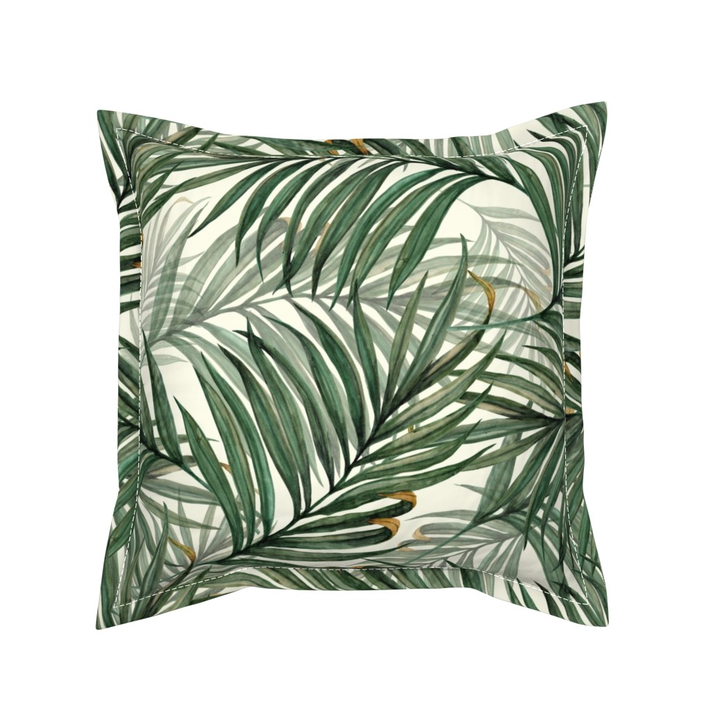 Serama Throw Pillow featuring Palm_Leaves__King_Pineapple_ by chicca_besso
