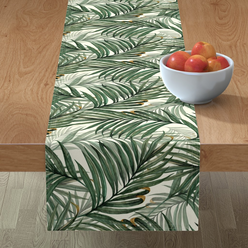 Minorca Table Runner featuring Palm_Leaves__King_Pineapple_ by chicca_besso