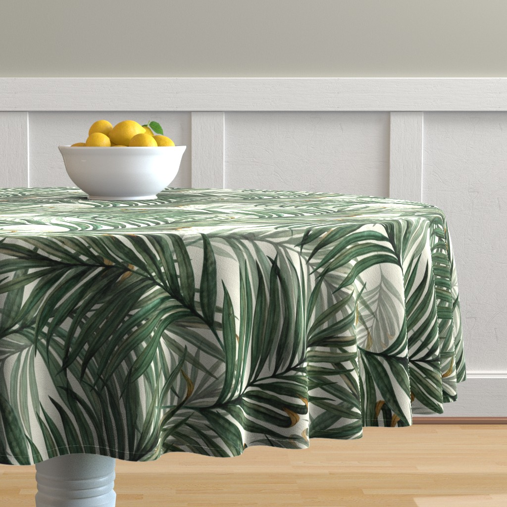 Malay Round Tablecloth featuring Palm_Leaves__King_Pineapple_ by chicca_besso