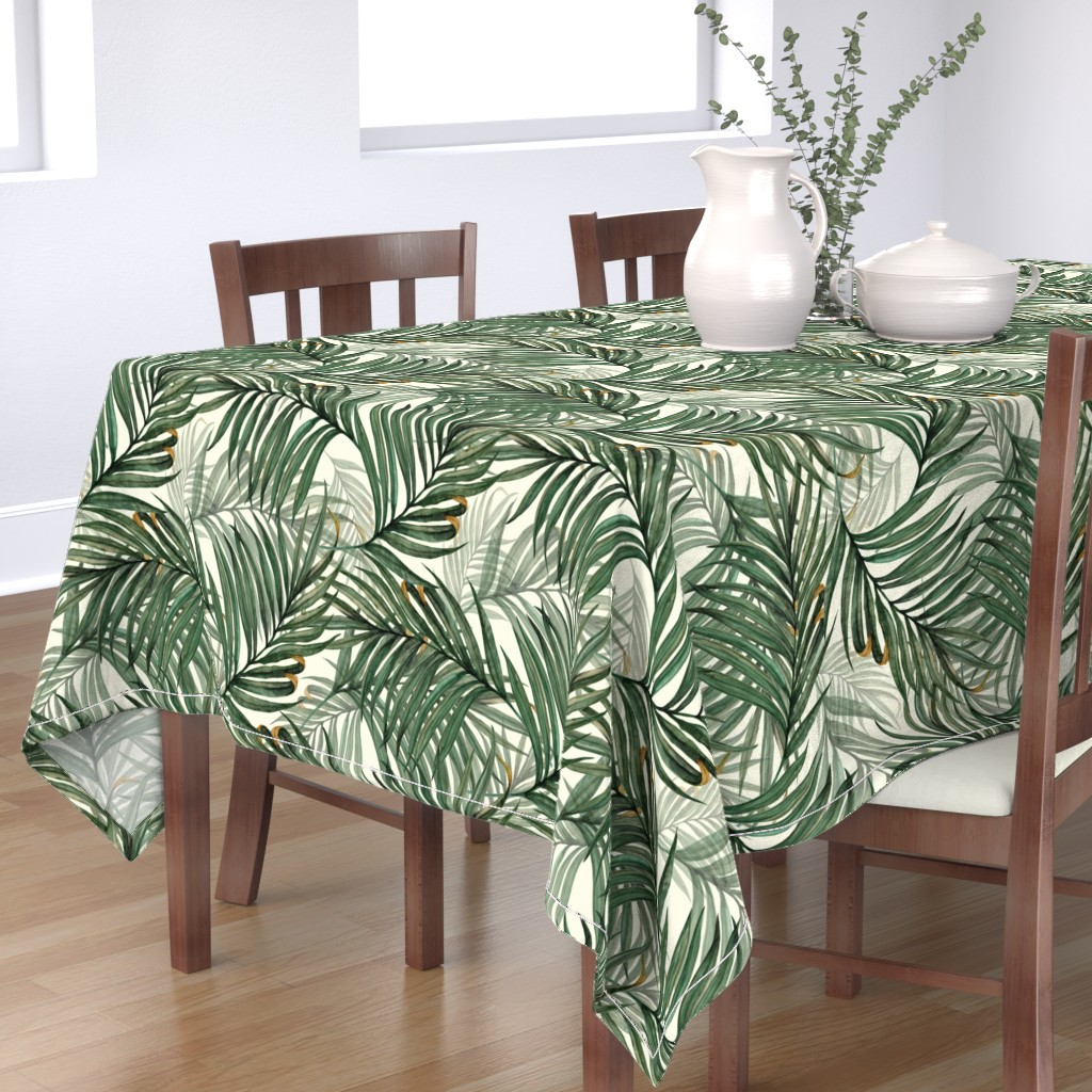 Bantam Rectangular Tablecloth featuring Palm_Leaves__King_Pineapple_ by chicca_besso