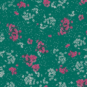 Small floral on deep green