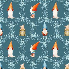 Yuletide Celebration - Gnomes - Dark  Blue