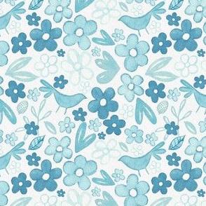 Scandinavian Ice Blue Floral -  Yuletide