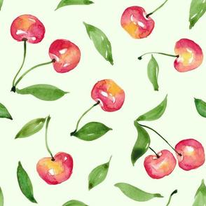 Cherries on mint backdrop