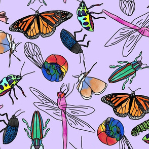 Watercolor Insects (purple)