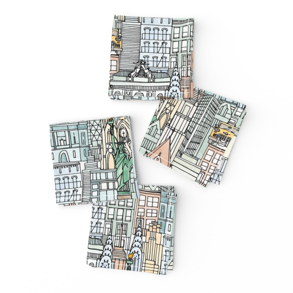 Frizzle Cocktail Napkins featuring New York watercolor by scrummy