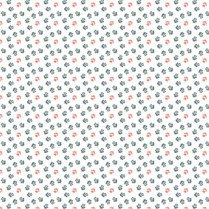 Tiny kitty cat paw prints - mint and coral on white