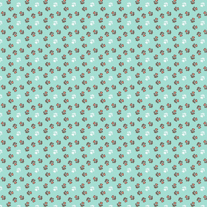 Tiny kitty cat paw prints - coral on mint