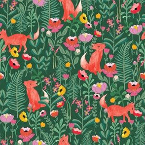 Fox floral in green