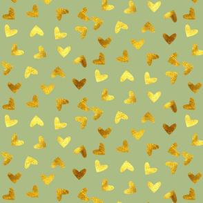 Gold heart green