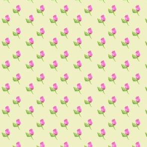 Tiny Rosebuds on Yellow