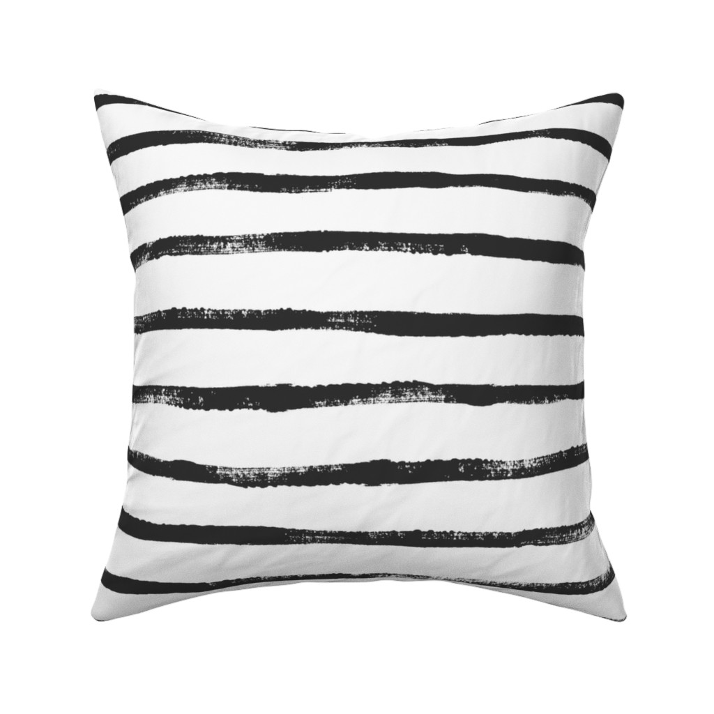 Catalan Throw Pillow featuring Thin Stripe soft black by crystal_walen