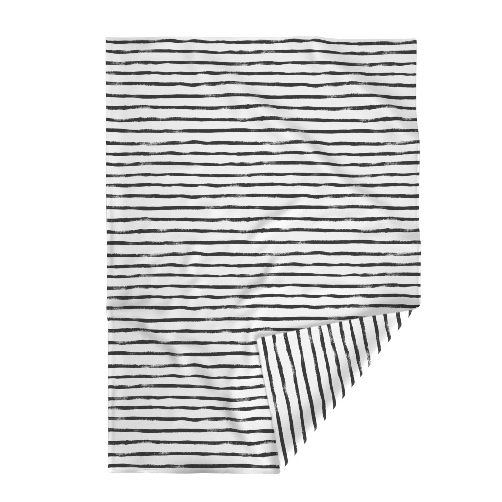 Lakenvelder Throw Blanket featuring Thin Stripe soft black by crystal_walen
