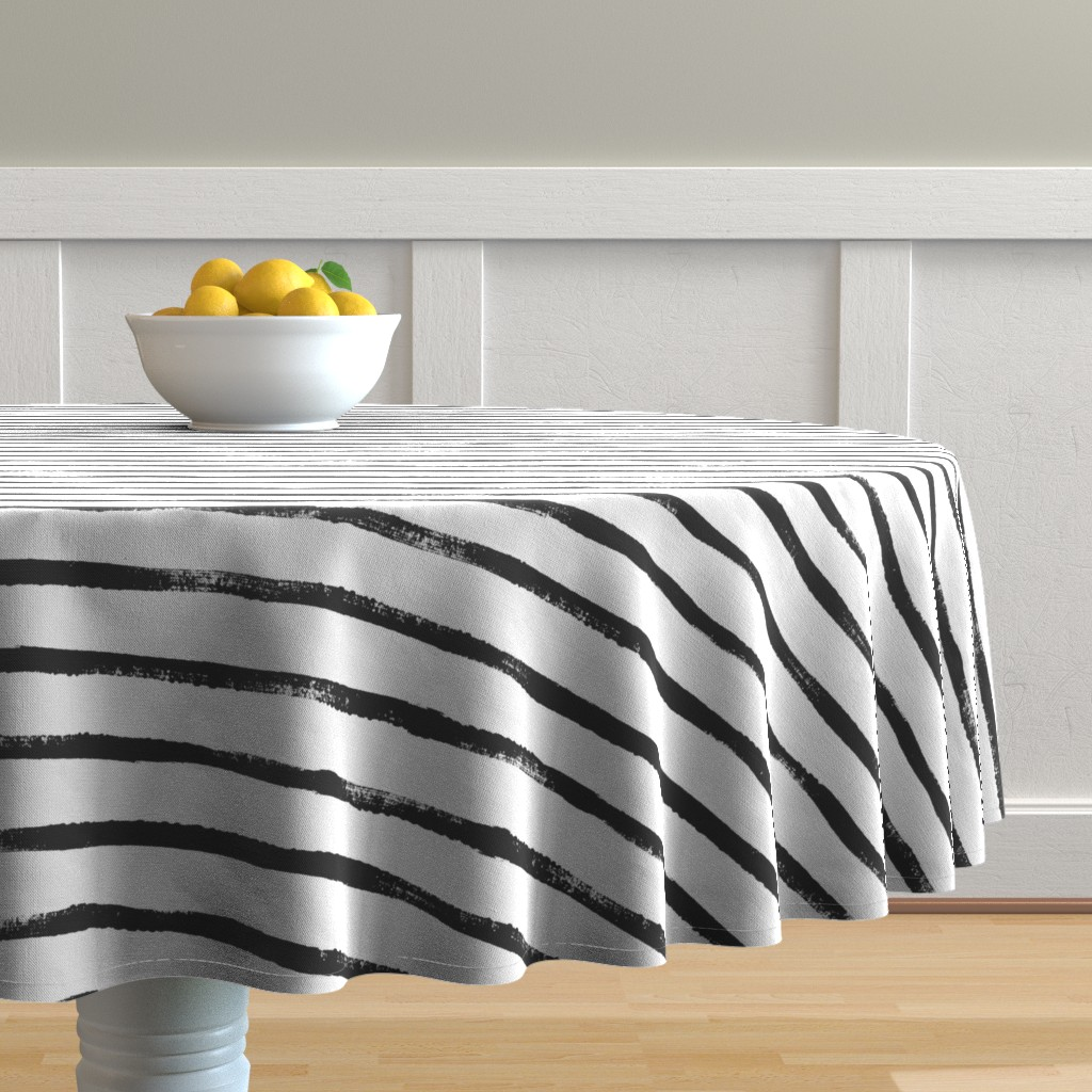 Malay Round Tablecloth featuring Thin Stripe soft black by crystal_walen