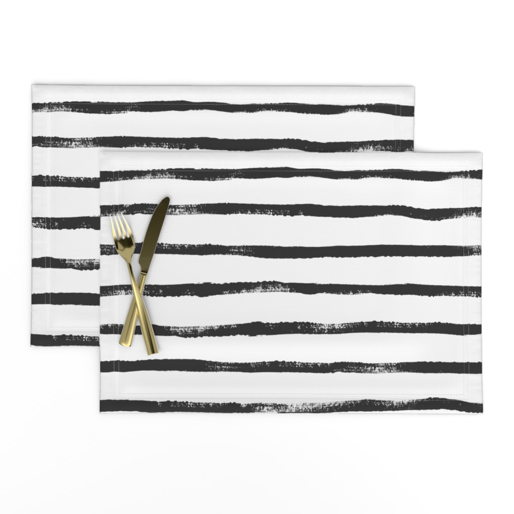 Lamona Cloth Placemats featuring Thin Stripe soft black by crystal_walen
