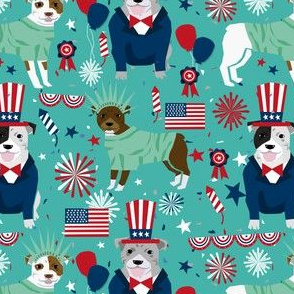 pitbull terrier fabric july 4th patriotic america fabric - turquoise