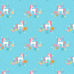 Sweet Magical Unicorns - Blue