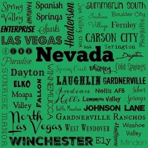 Nevada cities, green