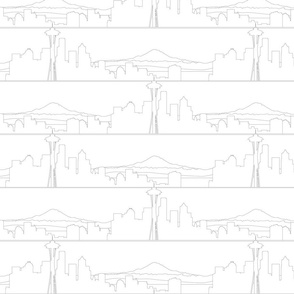 Seattle Skyline Outlines on White lg