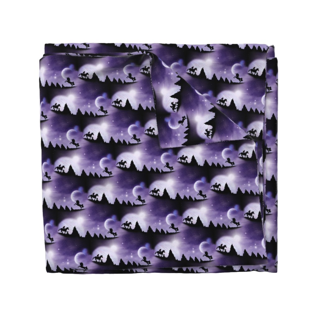 Wyandotte Duvet Cover featuring black unicorn in a purple world by stofftoy