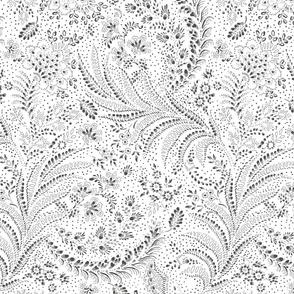 fern floral botanical organic white