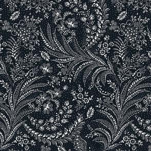 fern floral botanical organic black