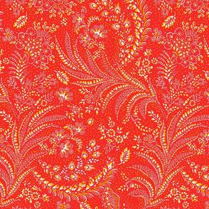 fern floral botanical organic red