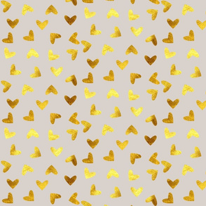 gold heart grey