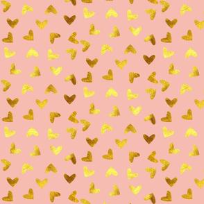 Gold heart pink
