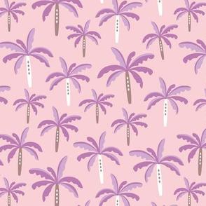 Summer palm tree beach coconut pastel bikini tropics illustration print in pink and lilac