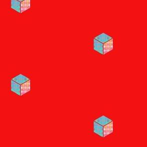 tiny blocks on red