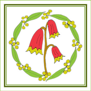 Christmas Bells and Golden Wattle, Wreath Panels with Green Border