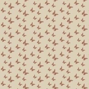 Tiny butterflies, brownish-grey taupe on beige || dress night gown shirt top blouse short woman decoration napkin womanly women little girl trendy timeless men man safari