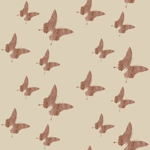 Medium small butterflies, brownish grey taupe on light brown beige || shirt top blouse night gown woman dress fun trendy man men girl kid women womanly timeless safari