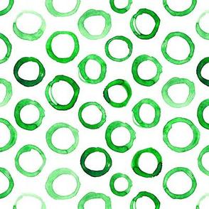 Watercolor green circles