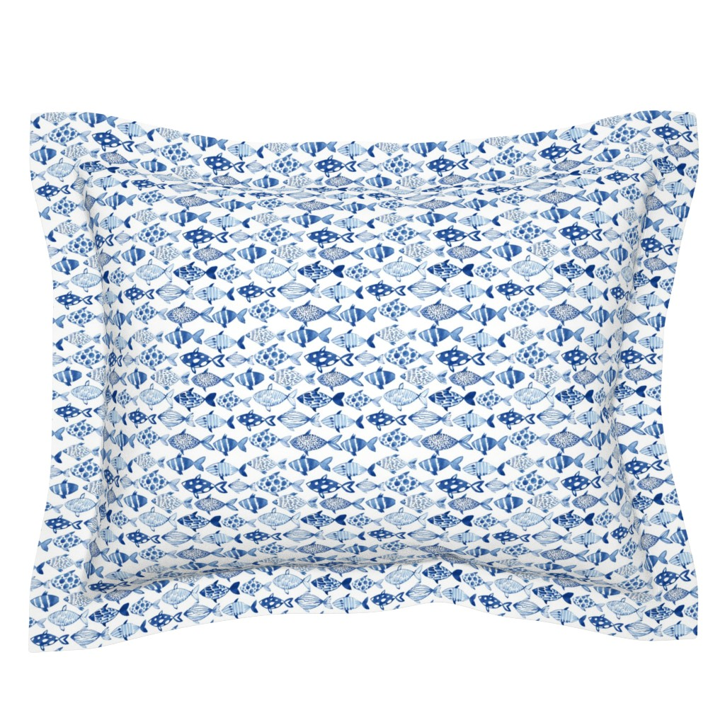 Sebright Pillow Sham featuring Watercolor fishes by tasiania