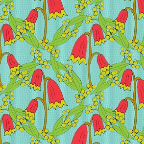 Christmas Bells and Golden Wattle on Teal Dots -Medium Scale