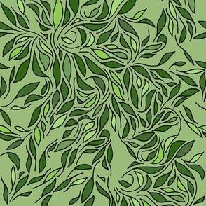Swirling leafs white green