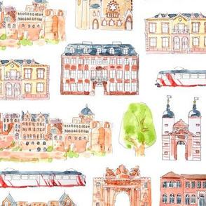 Heidelberg watercolour buildings