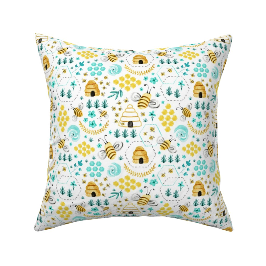 Catalan Throw Pillow featuring Busy Bees - Watercolor by heatherdutton