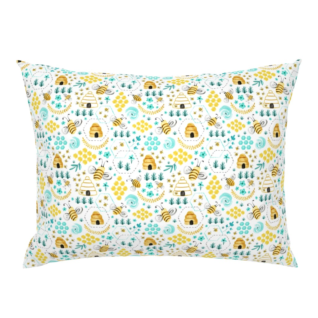 Campine Pillow Sham featuring Busy Bees - Watercolor by heatherdutton