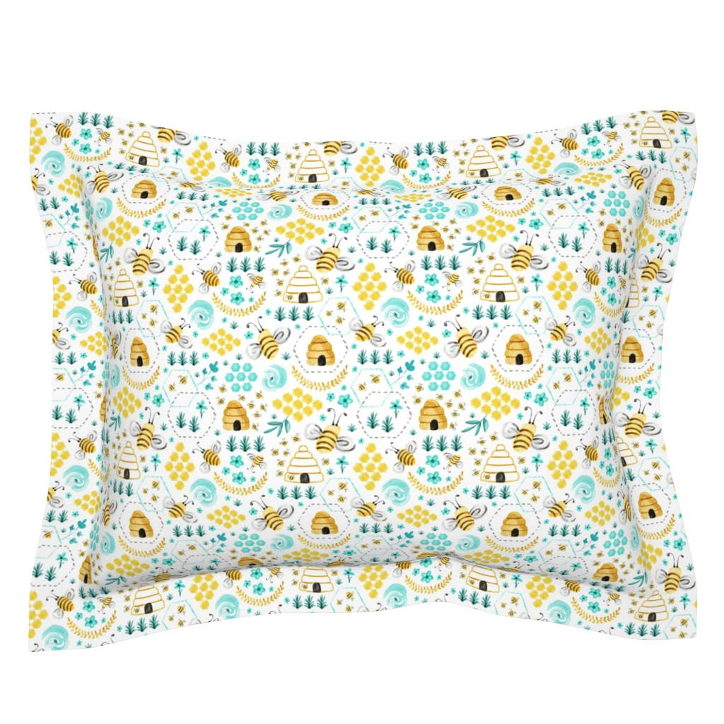 Sebright Pillow Sham featuring Busy Bees - Watercolor by heatherdutton