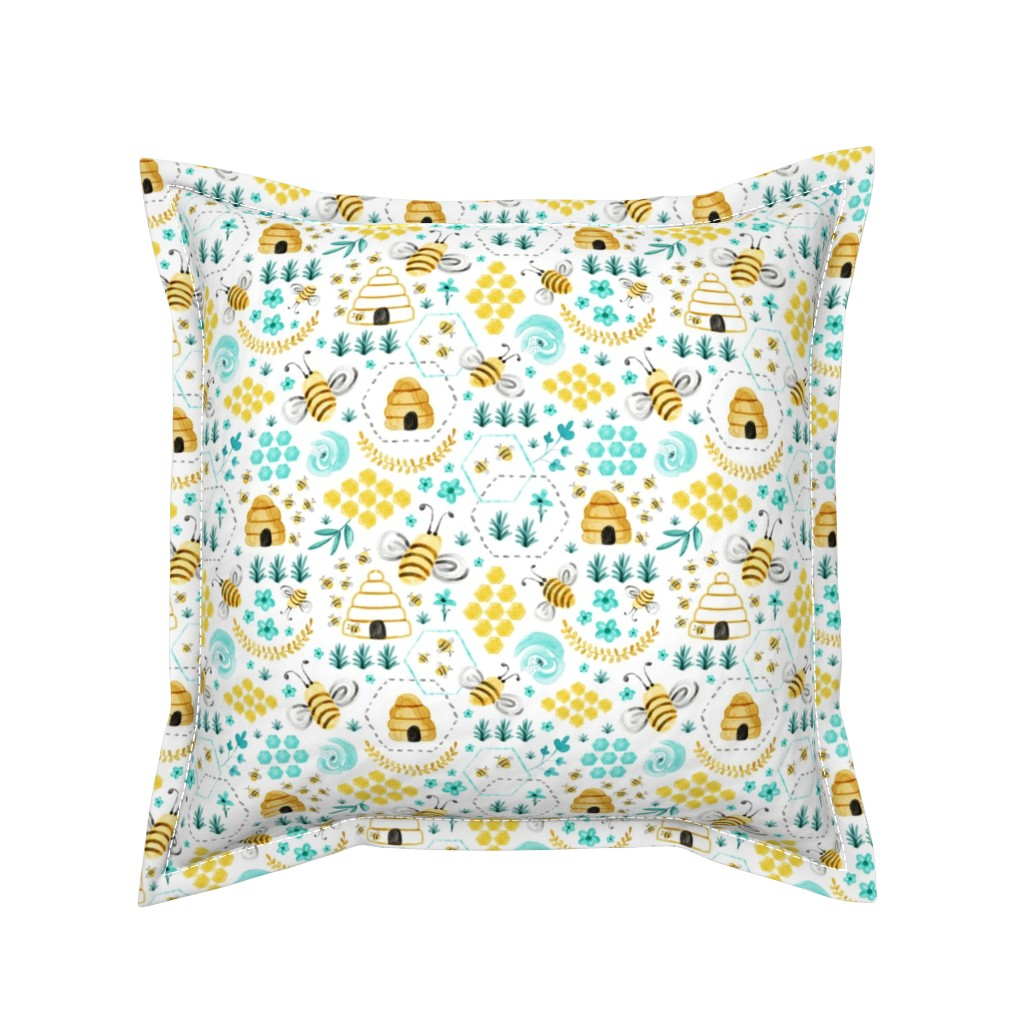 Serama Throw Pillow featuring Busy Bees - Watercolor by heatherdutton