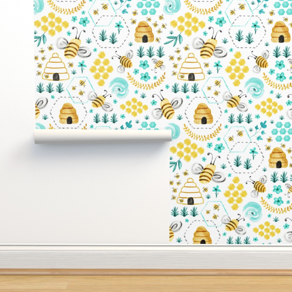 Isobar Durable Wallpaper featuring Busy Bees - Watercolor by heatherdutton