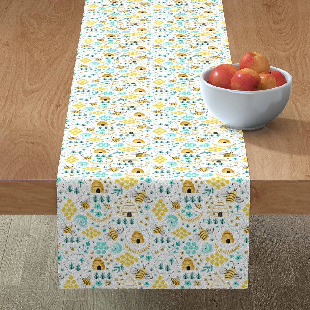 Minorca Table Runner featuring Busy Bees - Watercolor by heatherdutton