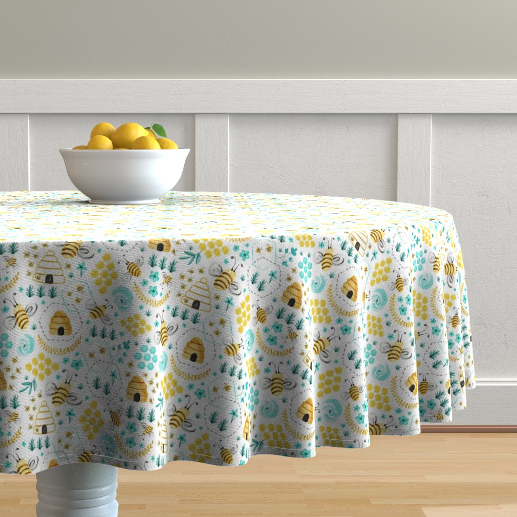 Malay Round Tablecloth featuring Busy Bees - Watercolor by heatherdutton