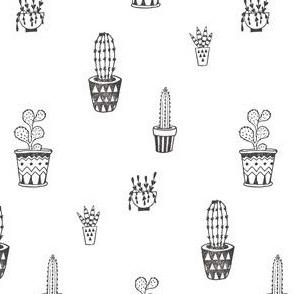 Cactus Pots in Black and White | Block Printed Cacti Succulents Southwest Plant Pots Garden Desert Summer Prints