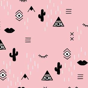 Sweet modern boho tribal indian summer ethnic  pop print black and white pink LARGE
